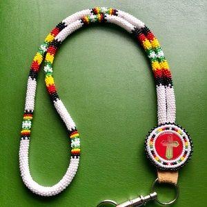 Other - Navajo Beadwork Key Lanyard Cross Leather New